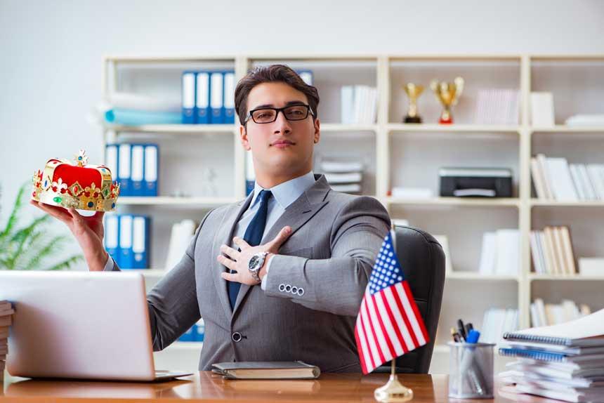 王冠 ビジネスマン 米国国旗